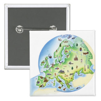 Map of Europe with illustrations of famous 15 Cm Square Badge