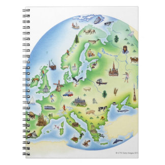 Map of Europe with illustrations of famous Notebook