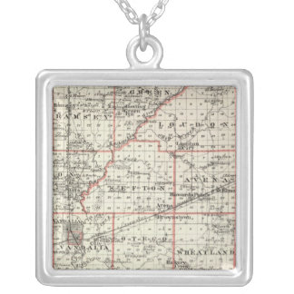 Map of Fayette County, Mt Vernon and McLeansboro Silver Plated Necklace