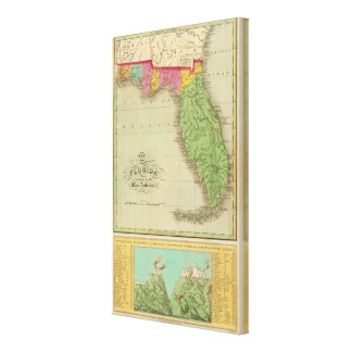 Map of Florida Stretched Canvas Print