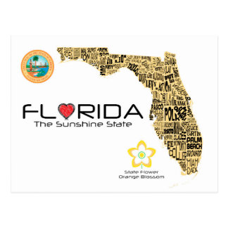 Map of Florida with all counties spelled out Postcard