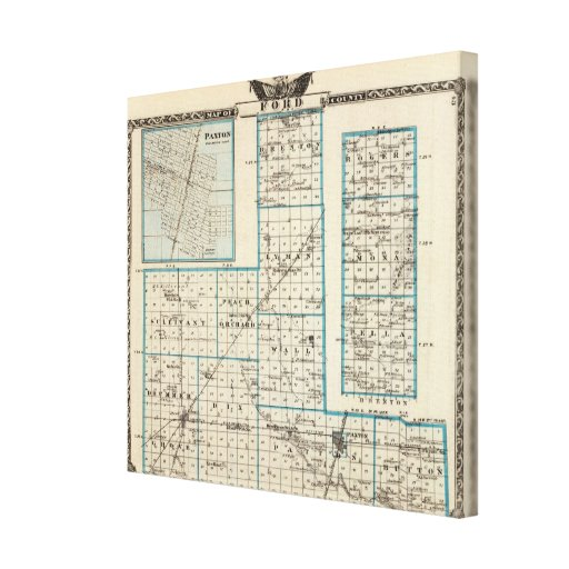Map of Ford County and Paxton Canvas Print