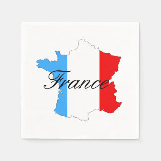 Map of France with French Flag Inside Map Disposable Napkin