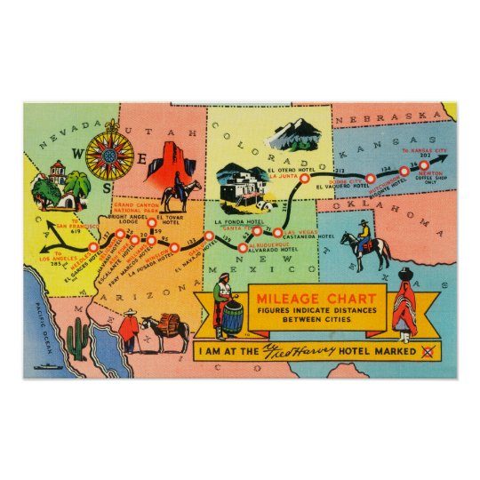 Map of Fred Harvey Hotel LocationsCA to KS Poster