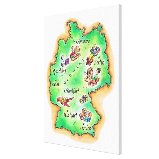 Map of Germany Stretched Canvas Print