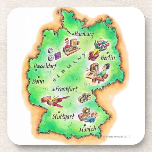 Map of Germany Beverage Coasters
