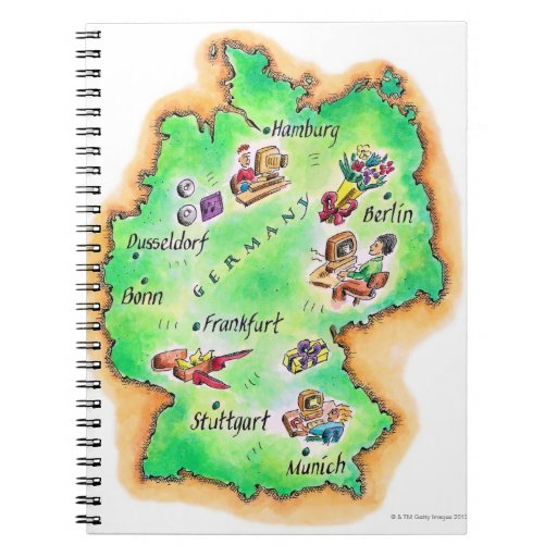 Map of Germany Spiral Note Book