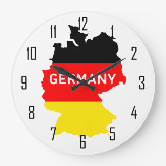 Map of Germany With Flag and Numbers Large Clock