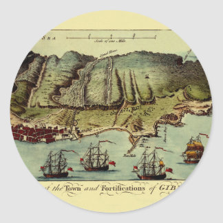 Map Of Gibraltar 1765 Classic Round Sticker