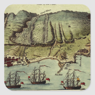Map Of Gibraltar 1765 Square Sticker