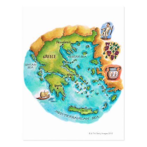 Map of Greece Isles Post Card