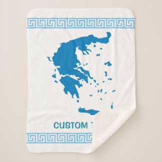 Map of Greece Sherpa Blanket
