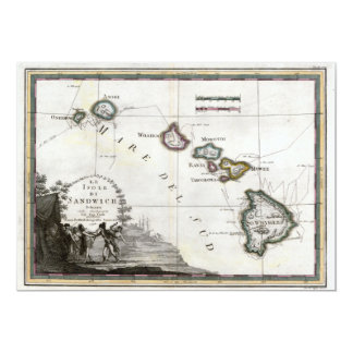 Map of Hawaii with Captain Cook vignette 13 Cm X 18 Cm Invitation Card
