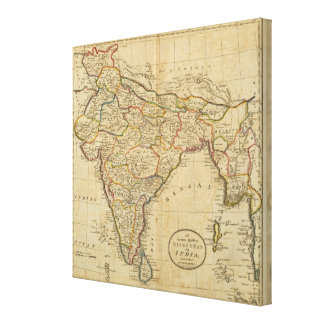 Map of Hindostan or India Canvas Prints