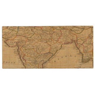 Map of Hindostan or India Wood USB 2.0 Flash Drive