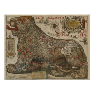Map of Holland and Belgium - 1630 Poster
