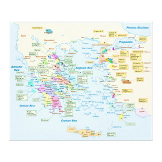 Map of Homeric Era Greece with English labels Stretched Canvas Prints