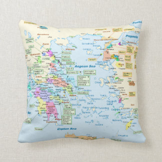Map of Homeric Era Greece with English labels Cushion