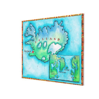 Map of Iceland Canvas Prints