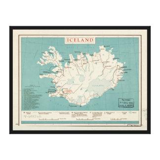 Map of Iceland (circa 1959) Canvas Print