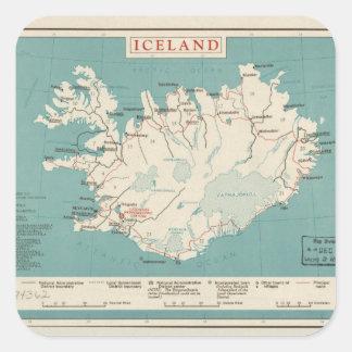 Map of Iceland (circa 1959) Square Sticker