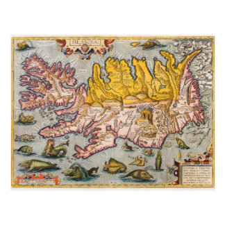 Map of Iceland Postcard