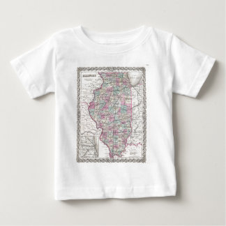 Map of Illinois, Joseph Hutchins Colton Baby T-Shirt