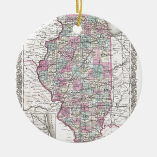 Map of Illinois, Joseph Hutchins Colton Ceramic Ornament