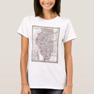 Map of Illinois, Joseph Hutchins Colton T-Shirt