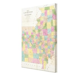 Map of Illinois & Missouri Canvas Print
