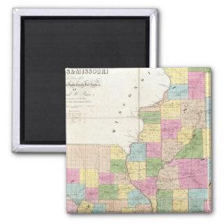 Map of Illinois & Missouri Square Magnet