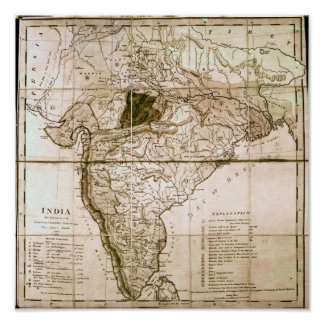 Map of India, 1803 Poster