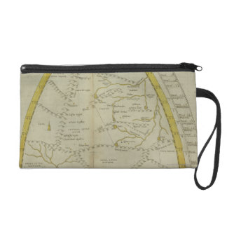 Map of India and Central Asia Wristlet Clutches