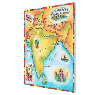 Map of India Stretched Canvas Prints