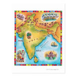Map of India Post Card