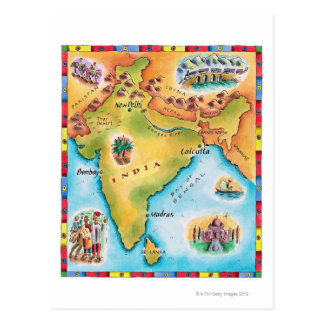 Map of India Postcard