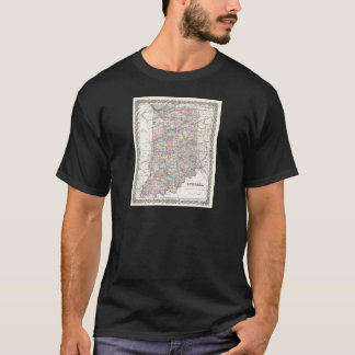 Map of Indiana. Joseph Hutchins Colton T-Shirt