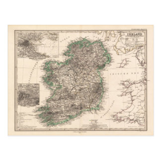 Map of Ireland (1876) Postcard