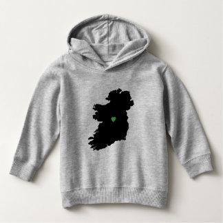 Map of Ireland Irish Pride Green Heart Hoodie