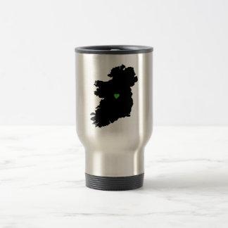 Map of Ireland Irish Pride Green Heart Travel Mug