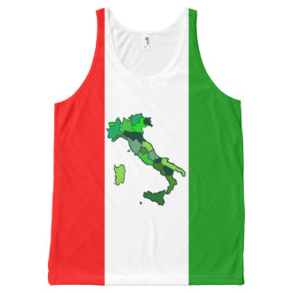 Map of Italy and Italian Flag All-Over Print Singlet