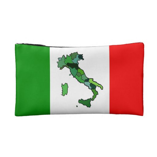 Map of Italy and Italian flag Cosmetic Bag