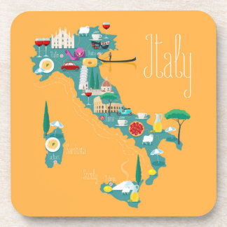 Map of Italy Coasters