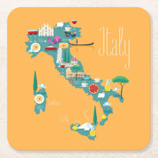 Map of Italy Square Paper Coaster
