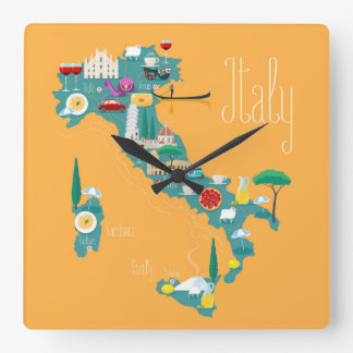 Map of Italy Square Wall Clock