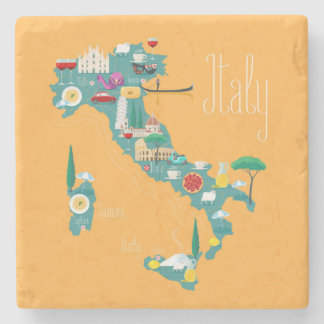 Map of Italy Stone Coaster