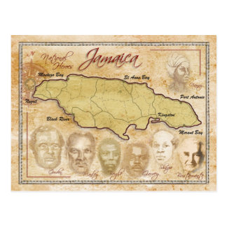Map of Jamaica with National Heroes Postcard
