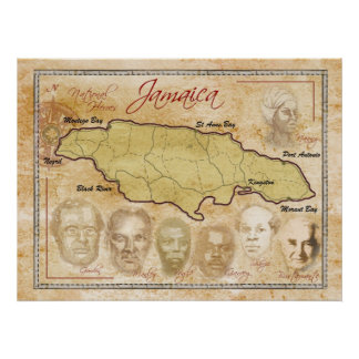 Map of Jamaica with National Heroes Print