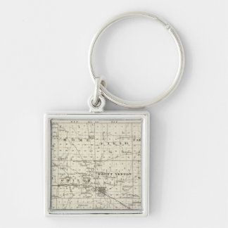 Map of Jefferson County Silver-Colored Square Key Ring