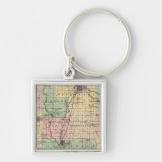 Map of Jefferson County, State of Wisconsin Silver-Colored Square Key Ring